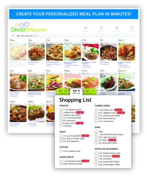 DinnerTime Calendar Planner and Shopping List