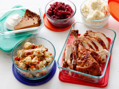 leftover Thanksgiving food in tupperware
